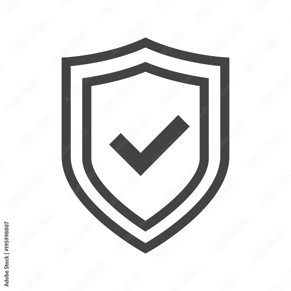 Fototapeta Vector shield icon, logotype with tick. Security emblem collection. Protection logo. Сryptocurrency protection sign. Reliability crypto wallet. Crypto currency security button. Transparent background.