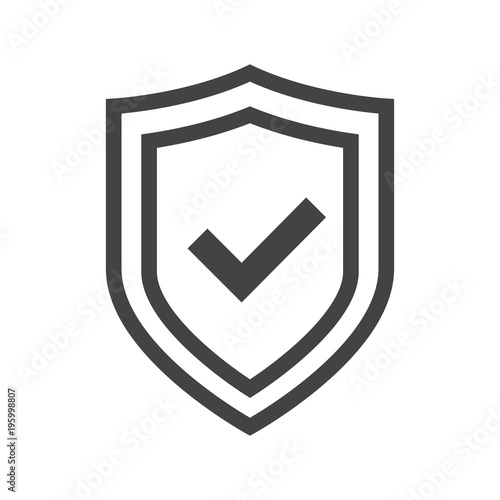 Fotografie, Obraz Vector shield icon, logotype with tick