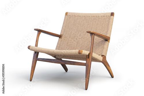Fotomural  Wooden armchair. Modern wicker armchair 3d render