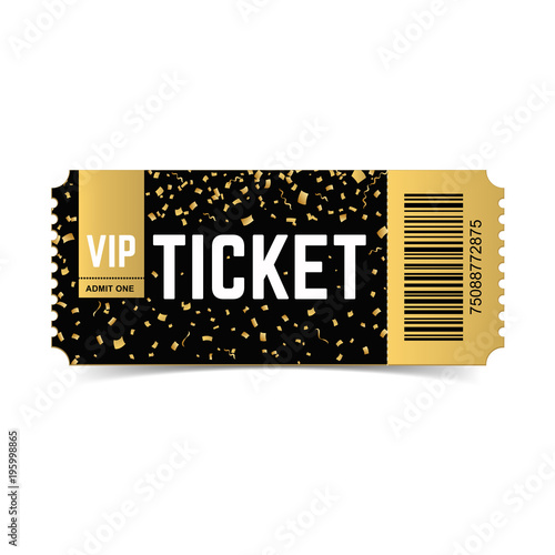 golden vector vip ticket  realistic 3d design with gold