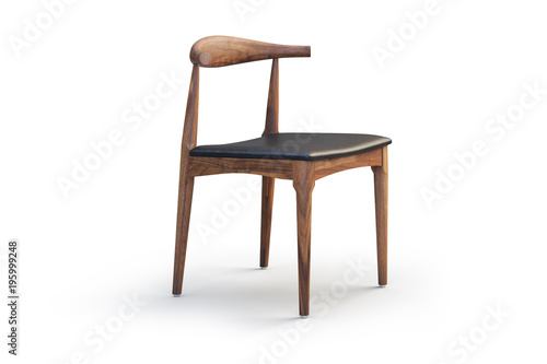 Wooden chair with leather seat. 3d render Fototapeta