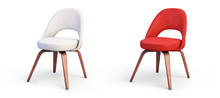 Modern White And Red Chairs. 3d Render