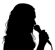 Black Vector Silhouette Of Woman Singer Singing To Microphone Isolated Onwhite Background