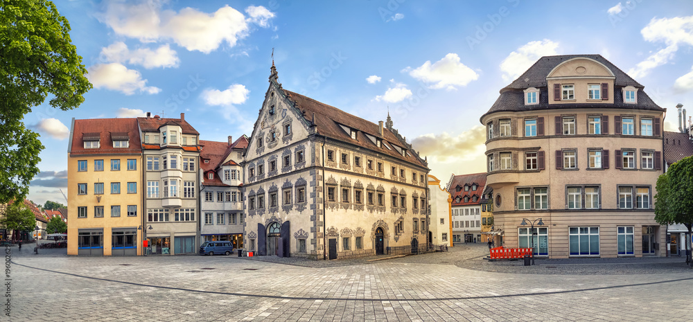 Fototapety, obrazy: Panoramic view of old buildings on Marienplatz square on the center of Ravensburg, Baden-Wurttemberg, Germany