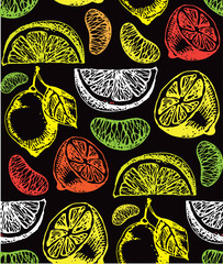 Panel Szklany Owoce Hand drawn doodle citrus pattern