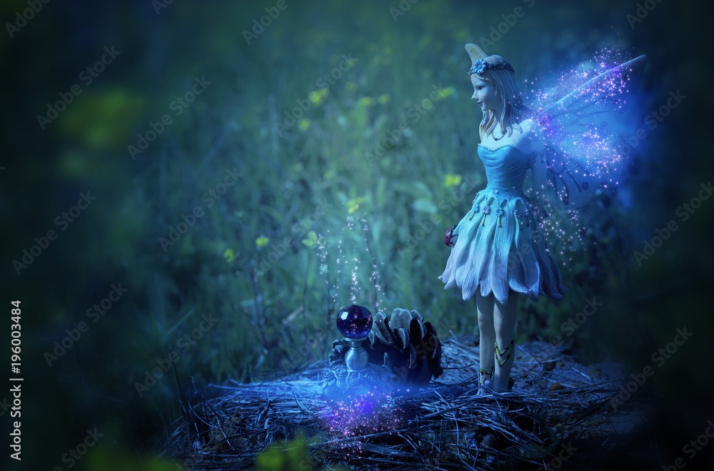 Fototapety, obrazy: image of magical little fairy in the night forest.