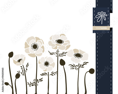 Leinwand Poster Vector flower greeting banner with anemone and ribbon