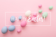 Happy Easter Greeting Card With Colored Eggs