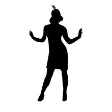 Black Flapper Silhouette On White Background