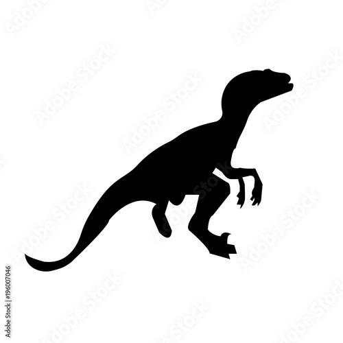 Photo  black velociraptor silhouette on white background