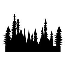 Black Treeline Silhouette On W...