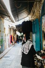 Old Man Wearing A Palestinian Scarf In Jerusalem, Israel