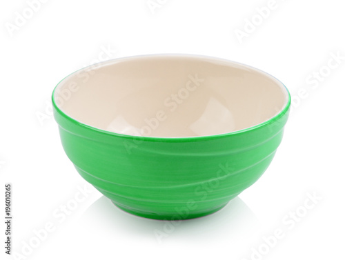 green bowl on white background