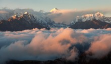 Evening Sunsed Red Colored View On Top Of Mount Makalu