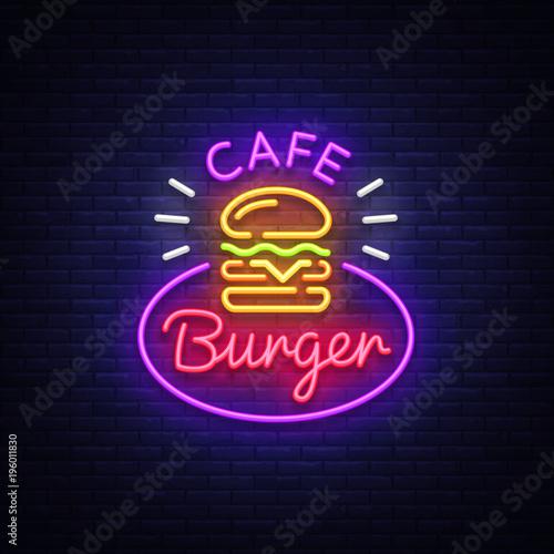 Burger Cafe Neon Sign Fastfood Burger Sandwich Neon Style Logo