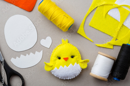 Cut Out Details Chicken Toy Scissors Fabric Crafts For Kids Step