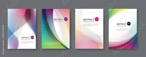 Poster Abstract wave Set of abstract vector backgrounds with line waves.Vector illustration.