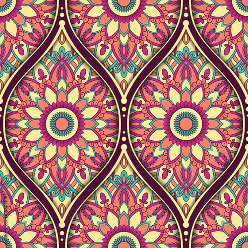 Foto auf AluDibond Boho-Stil Seamless pattern with ethnic mandala ornament. Hand drawn vector illustration