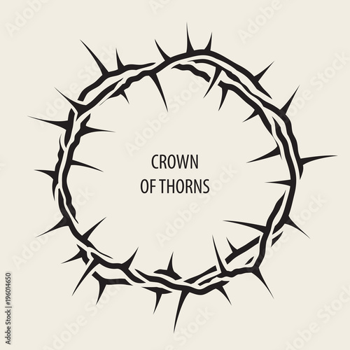 Fotografija Vector Easter banner with black crown of thorns and words