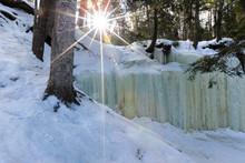 Eben Ice Caves, Frozen Ice Curtains In Michigan's Upper Peninsula. Located Near Eben Junction, Michigan USA