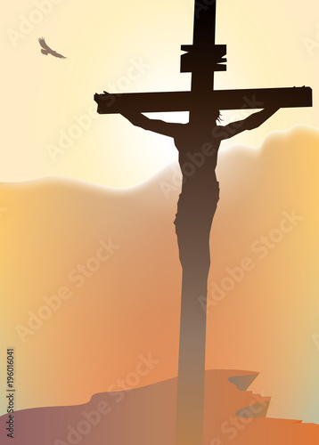Vector landscape on religious theme with mount Calvary and a silhouette of a cross with crucified Jesus Christ at sunset. Banner for Easter or good Friday