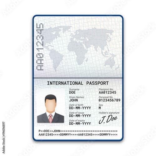 International male passport template with sample of photo, signature ...
