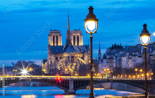 The Notre Dame Cathedral in the evening , Paris, France. Canvas Print