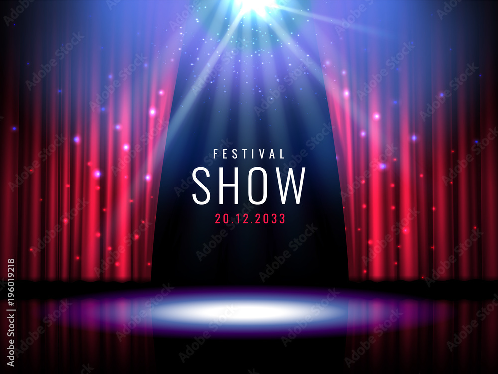 Fototapeta Theater stage with red curtain and spotlight Vector festive template with lights and scene. Poster design for concert, theater, party, dance, event, show. Illumination and scenery decoration.