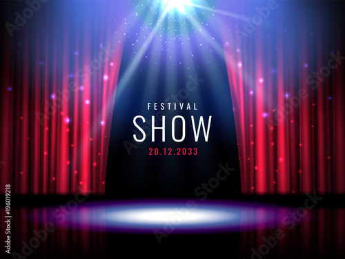 Fotobehang Licht, schaduw Theater stage with red curtain and spotlight Vector festive template with lights and scene. Poster design for concert, theater, party, dance, event, show. Illumination and scenery decoration.