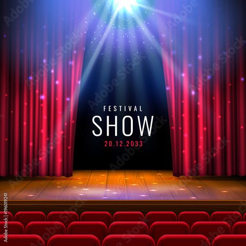 Obraz Theater wooden stage with red curtain, spotlight, seats.Vector festive template with lights and scene. Poster design for concert, theater, dance, event, show. Illumination and scenery decoration. - fototapety do salonu