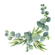 Leinwanddruck Bild - Watercolor bouquet with green eucalyptus leaves and branches.