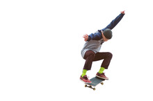 A Teenager Skateboarder Jumps ...
