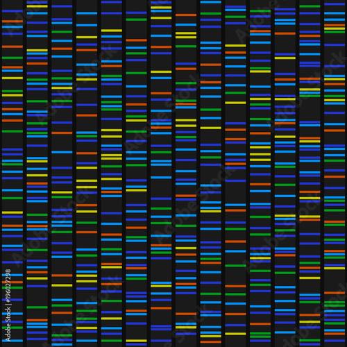 Obraz na plátně Color Dna Sequence Results on Black Seamless Background. Vector
