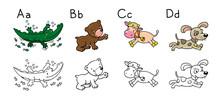 Animals Alphabet Or ABC. Color...
