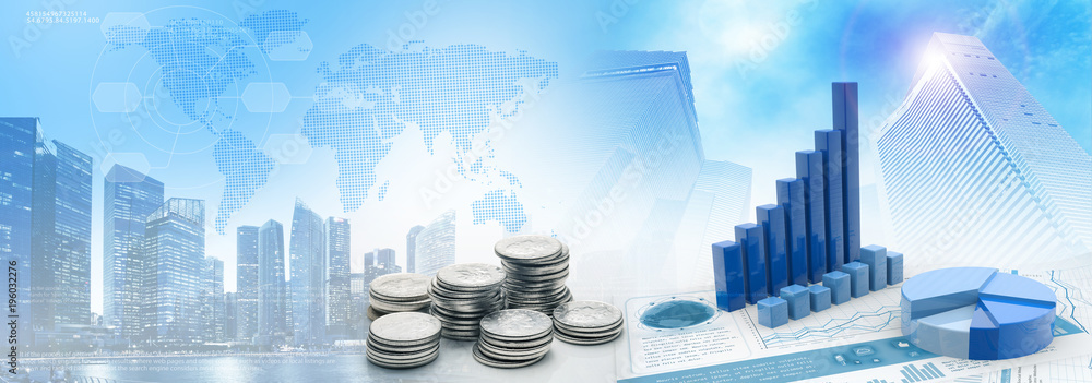 Fototapeta coins and charts in cityscape blue background