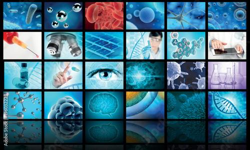 Fotografie, Obraz  collage of biology and medical images
