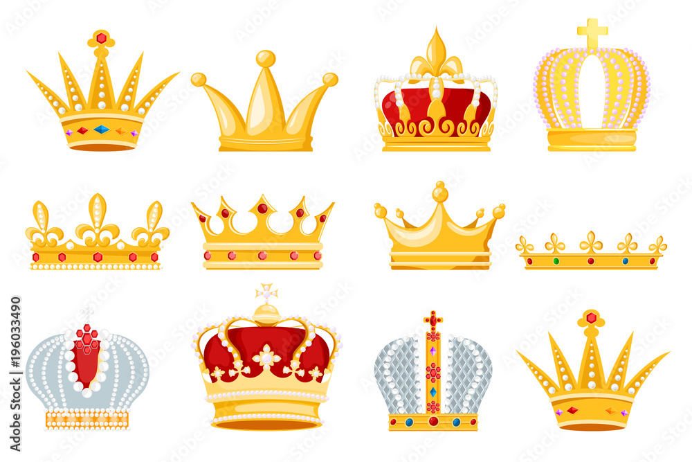Fototapeta Crown vector golden royal jewelry symbol of king queen and princess illustration sign of crowning prince authority set of crown jeweles isolated on white background