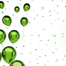 Green Metallic Balloons On The Left Sight With Gold Confetti Isolated On White Background. 3D Illustration Of Celebration, Party, Holidays Balloons