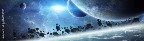 Fototapeta Panoramic view of planets in distant solar system 3D rendering elements of this image furnished by NASA obraz