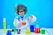 Crazy female scientist in research laboratory