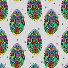 Panel Szklany Boho Beautiful bright stylish pattern at base with abstract feathers. Seamless vector pattern.