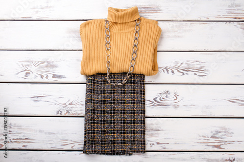 Fotografie, Obraz  Folded winter women clothes with necklace