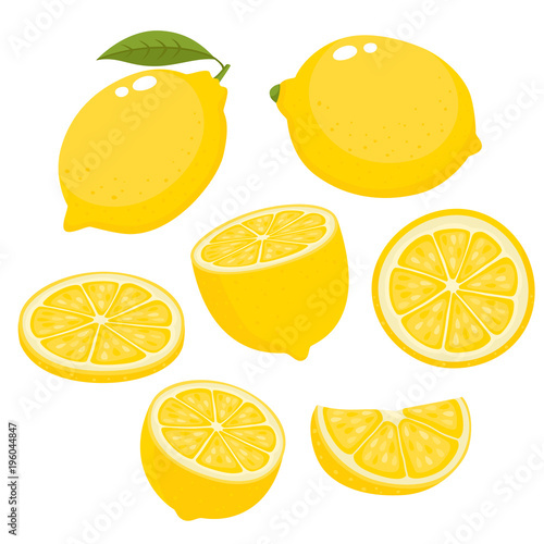 Bright vector set of colorful juicy lemons isolated on white. Fototapete