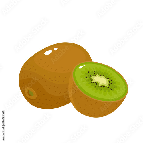 Bright vector illustration of colorful fresh kiwi isolated on white Wallpaper Mural