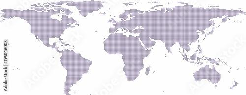 Fiołkowego okręgu kształta światowa mapa na białym tle, wektorowa ilustracja.