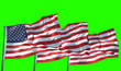 Leinwandbild Motiv 3D rendering, three american USA flag with pole, stars and stripes, united states of america on chroma key green screen