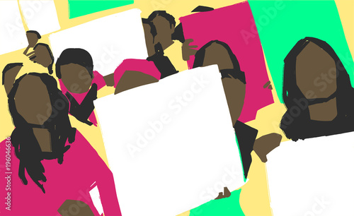 Fényképezés  Stylized illustration painting of african women protest march with blank signs i
