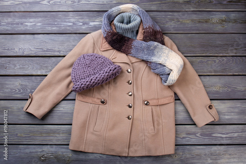 Fotografie, Obraz  Women's winter apparel set. Brown overcoat, wool hat and scarf.