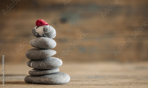 Foto op Canvas Zen zen stones on wooden vintage table