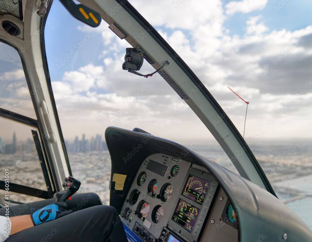 Photo & Art Print Aerial city skyline from helicopter, Dubai ...